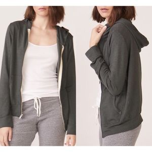 MONROW Zip Up Sweatshirt Hoodie in Evergreen